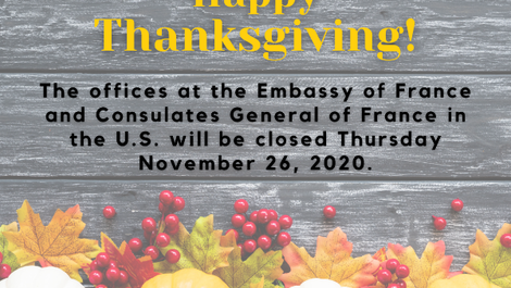 Offices are closed on November 26 - Thanksgiving